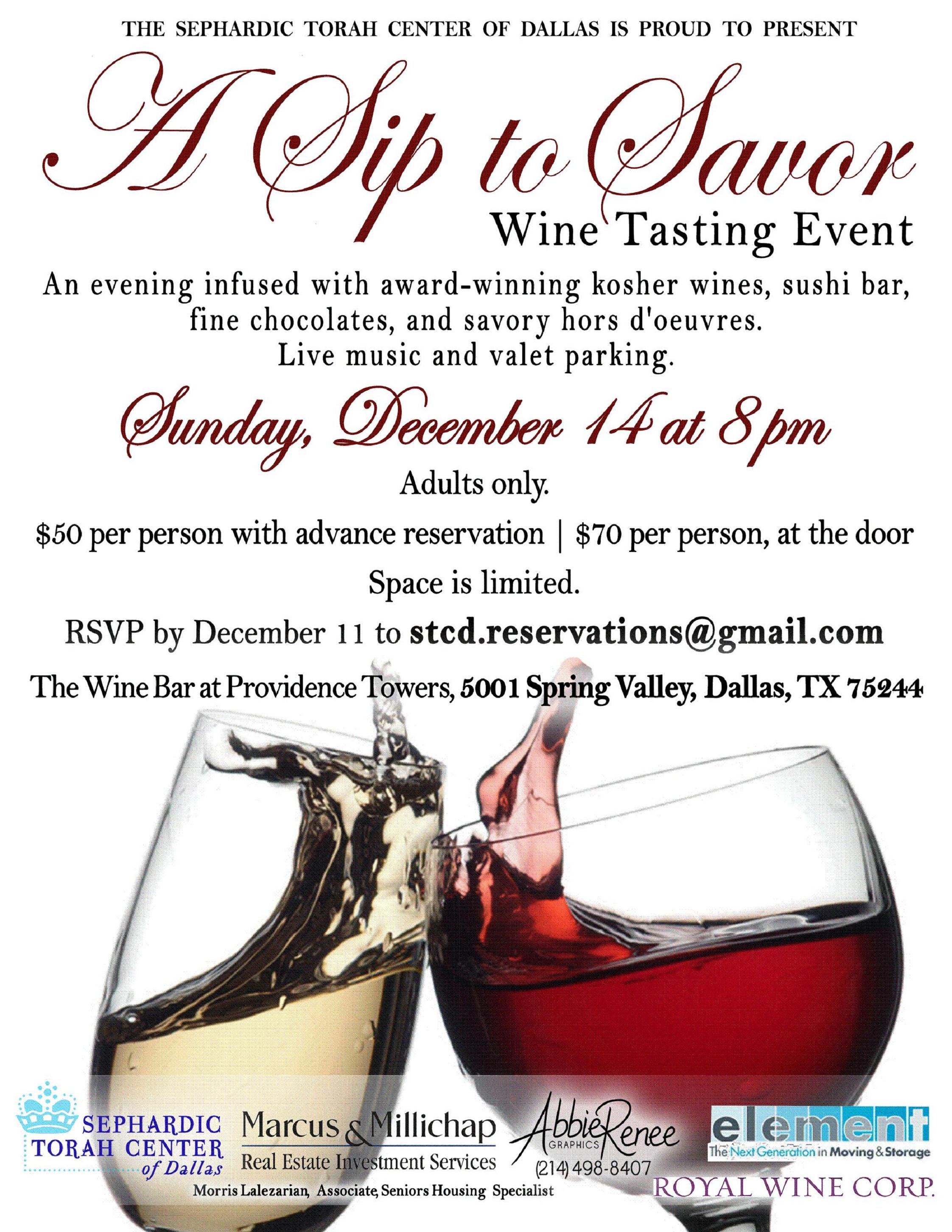 STCD A Sip to Savor Event Dec 14th, 14