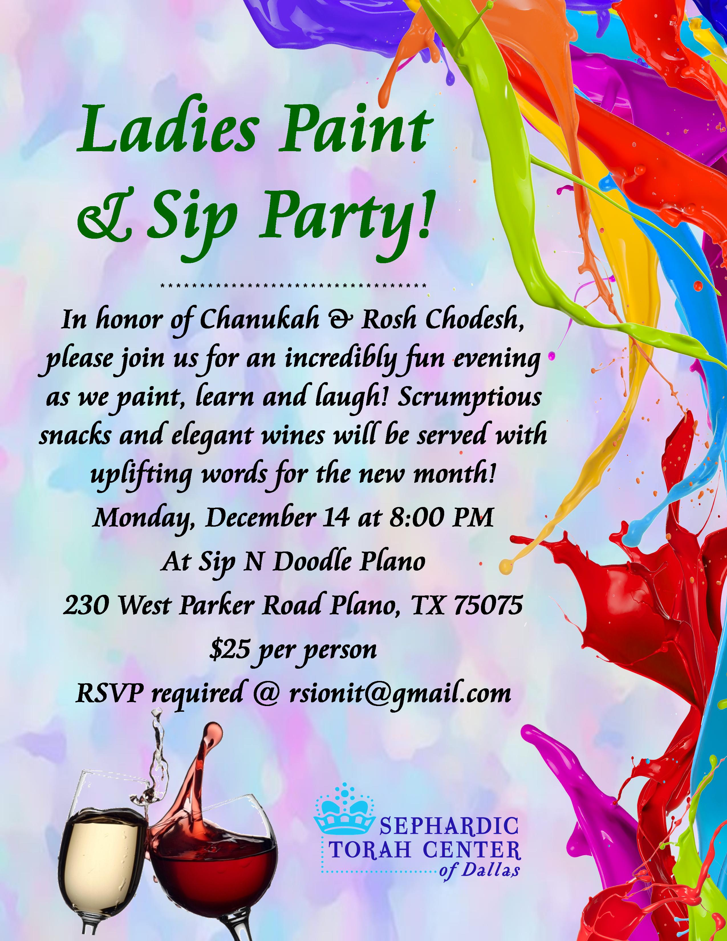 Ladies Sip & Paint Party Flier